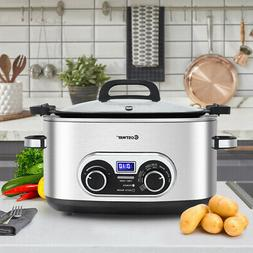 Slow Cooker Crock Pot 4-in-1 6 Quart Stainless Multi Cooker