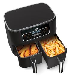 4-in-1, 8-qt., 2-Basket Air Fryer with Dual Technology- Blac