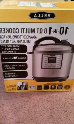 BELLA 8 QT 10 IN 1 PROGRAMMABLE MULTI COOKER, STAINLESS STEE