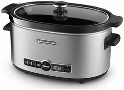 KitchenAid Slow Cooker 6-Quart with Glass Lid   Stainless St