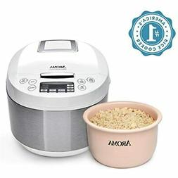 Ceramic Rice Cooker Multicooker 3 Qt, White Kitchen & Dining