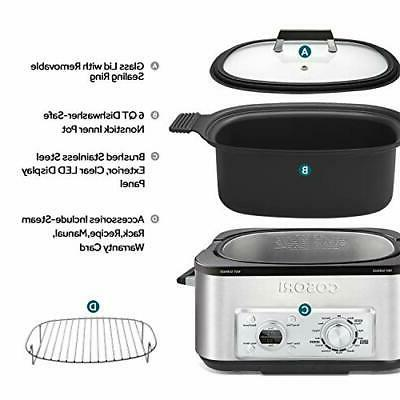 COSORI Slow Cooker 11-in-1 Programmable Multicooker, Brown, Saute,
