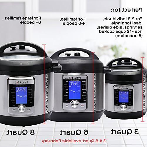 Instant Ultra 8 Qt Programmable Pressure Slow Cooker, Rice Maker, Cake Egg Cooker, Sauté, Steamer, Warmer, and