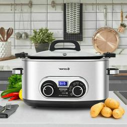 NEW! 4-in-1  6 Quart Stainless Steel Multi Cooker w/Lid