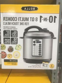NEW BELLA 8 QT 10 IN 1 PROGRAMMABLE MULTI COOKER, STAINLESS