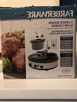 NEW IN BOX Farberware 104559 3-Crock Round Slow Cooker 1.5 Q